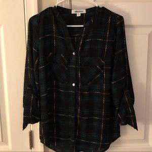 Black and hunter green plaid blouse